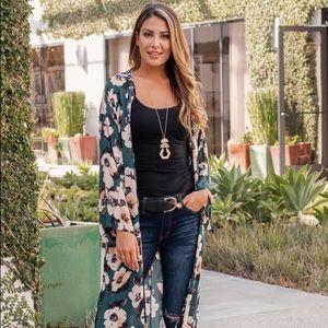 XL Pinkblush Green Floral Print Long Kimono